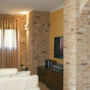 Rustic brick slips pillars